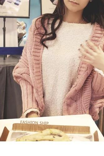 Vogue Slit Design Unclosed Batwing Sleeve Cardigans - Pink