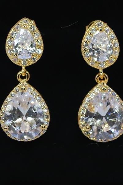 Wedding Earrings, Bridesmaid Earrings, Bridal Jewelry - Gold Plated Cubic Zirconia Teardrop Earring with Cubic Zirconia Teardrop (E445)