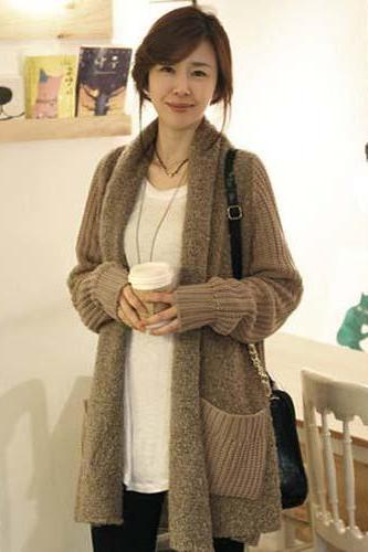 Women's Slim Fit Long Knitting Shirt Cardigan Outwear