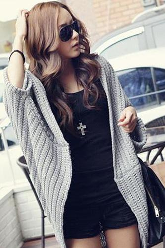 Good Quality Women Batwing-sleeve Cardigan Sweater - Grey