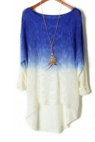 Blue Color Gradient Batwing Sleeve Irregular Sweaters For Women