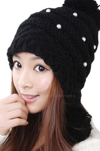 Free Shipping Graceful Sweet Style Ball Embellished Woolen Yarn Hat