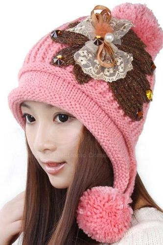 Lace Bowknot Knitted Woolen Yarn Hat