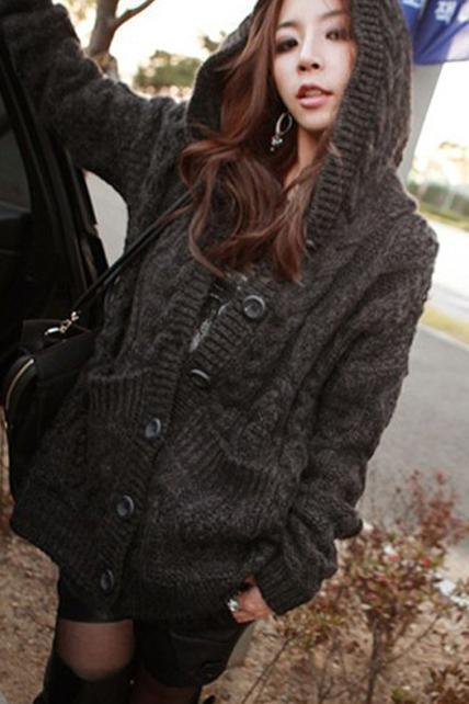New Winter Hooded Collar Long Sleeve Cable Sweater - Dark Grey