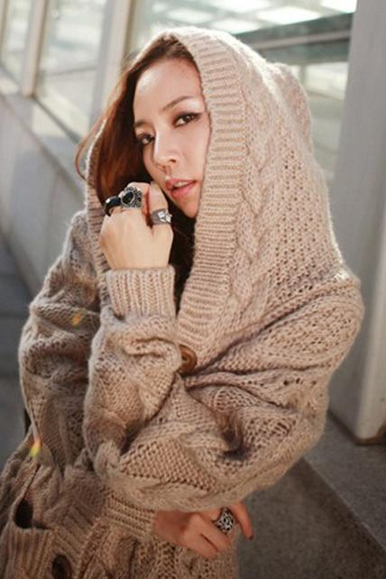 New Winter Hooded Collar Long Sleeve Cable Sweater - Khaki