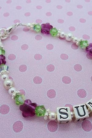 Personalized Sterling Silver Swarovski Crystal Girls Bracelet Kids Baby Gift Custom Name Flower Girl Garden Spring Colorful