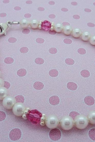 Sterling Silver Swarovski Crystal Girls Bracelet Kids Baby Gift Custom Baptism Flower Girl Christening Princess Pearls