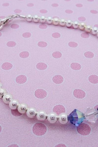 Sterling Silver Swarovski Crystal Girls Bracelet Kids Baby Gift Custom Baptism Flower Girl Christening Enchanted