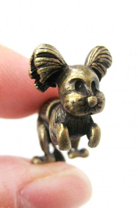 SALE - Fake Gauge Puppy Dog Shaped Stud Earrings in Brass