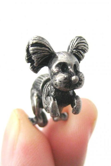 SALE - Fake Gauge Puppy Dog Shaped Stud Earrings in Silver