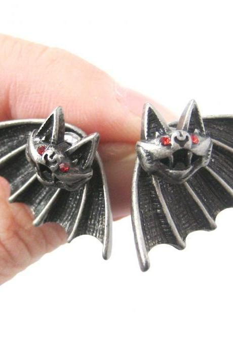 Bat Shaped Two Part Stud Animal Themed Earrings in Silver