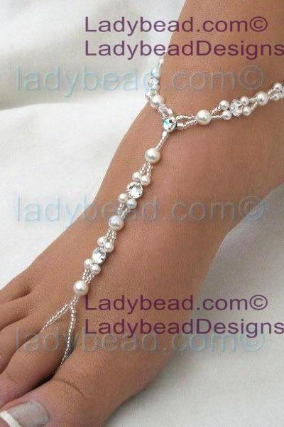 Beach Wedding Barefoot Sandals Swarovski Rhinestone Pearl Jewelry LTLR32
