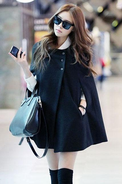 Fashion Loose Pattern Button Closed Black Coats