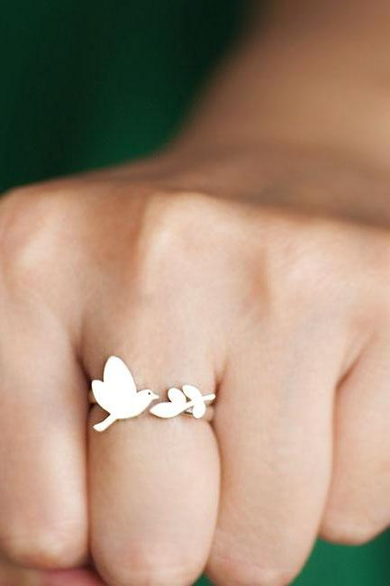 Silver Bird Leaf Ring, Whimsical Nature Inspire Jewelry