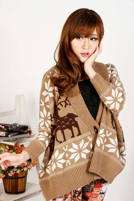 Fashion Loose Long Sleeve Button Fly Fawn Print Sweater