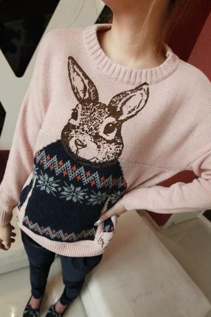 Girls Sweet Rabbit Print Long Sleeve Pullovers - Pink