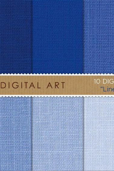 Digital Papers - Linen - Blue Shades