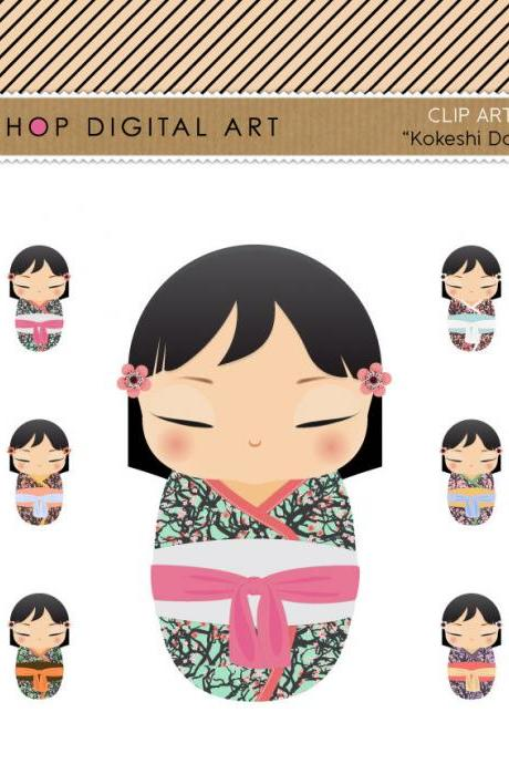 Kokeshi Dolls Clip Art + Digital Collage Sheet