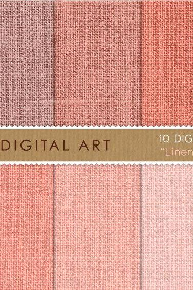 Digital Papers Linen - Salmon Shades