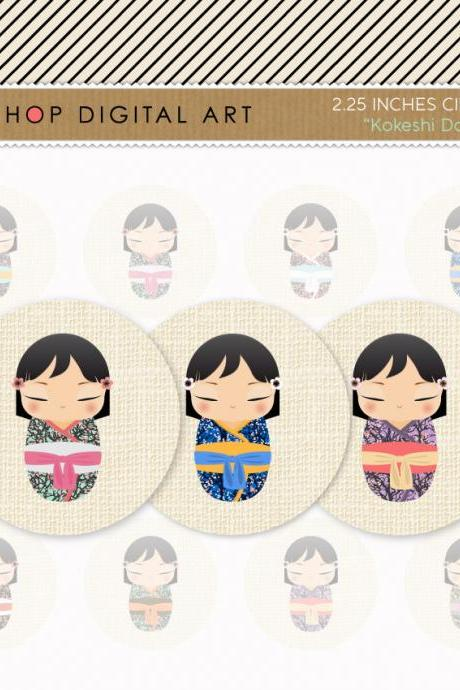 "2.25"" Digital Collage Sheet Circles - Kokeshi Dolls"