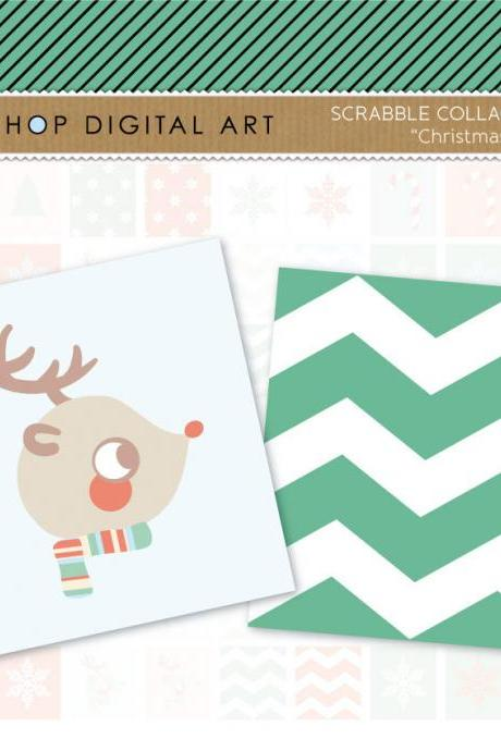 Scrabble Digital Collage Sheet - Christmas