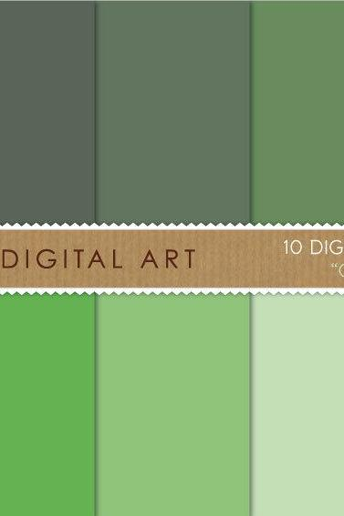 Digital Papers Green Shades 12x12 inches - INSTANT DOWNLOAD - Buy Any 2 Packs Get 1 Free