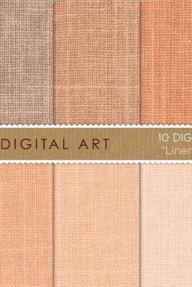 Digital Papers Linen - Orange Shades