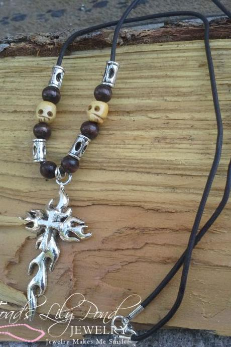 Mens cross necklace ox bone skull bead necklace wood bead cross necklace