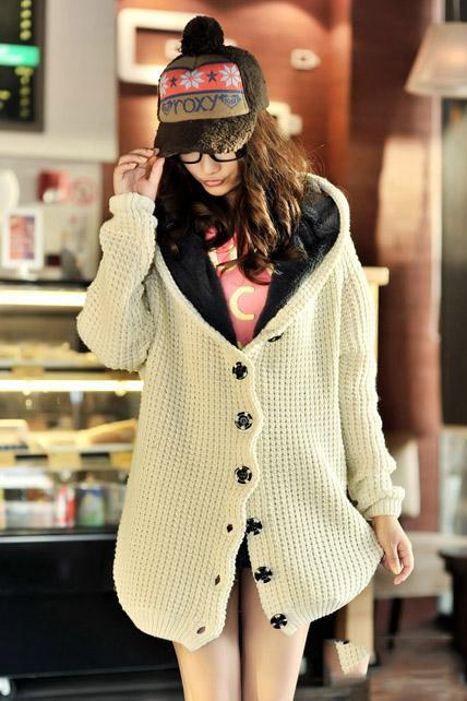 Hooded Collar Long Style Knitting Wool Sweater Coat - Beige