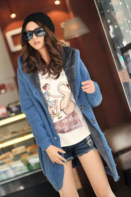 Hooded Collar Long Style Knitting Wool Sweater Coat - Blue