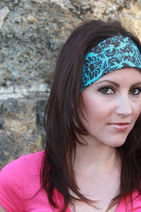 Pre-Tied Bandana, Headband- Brown & Turquoise Damask -Womens/Teens