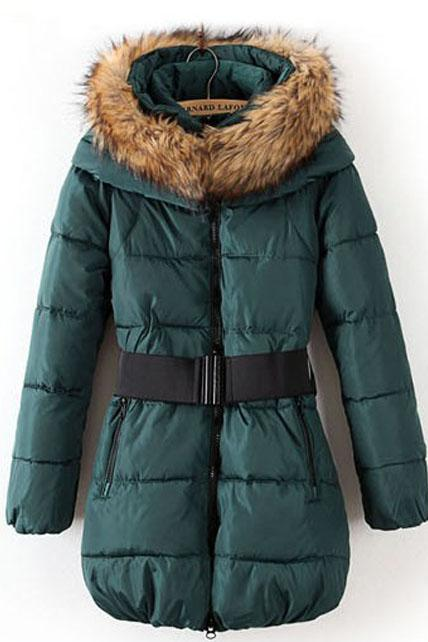 Fashion Fur Collar Thickened Warm Coat - Green