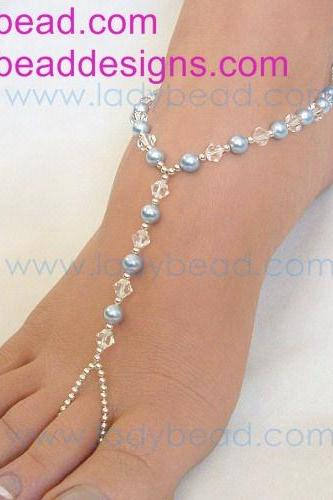 Something Blue Beach Wedding Barefoot Sandals