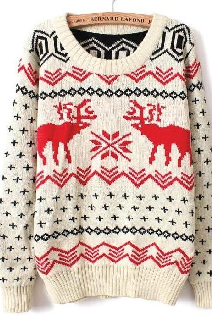 Fawn Christmas sleeved big yards sweater BBBH AA