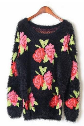 Black Rose Print Knitted Cardigan Sweater with Mohair