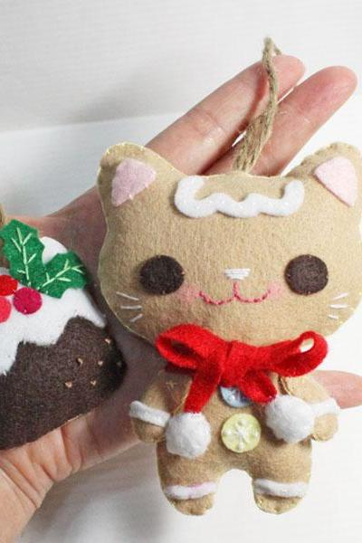 Gingerbread Cat and Meow Christmas Pudding - PDF Doll Pattern