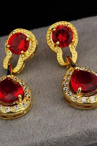 Luxurious 18KGP Red Cubic Zirconia Lady Earrings
