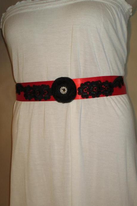 Bridal Sash - Wedding Sash - Red Ribbon - Organza Flower - Black Lace - -Dress Sash - Handmade in Colorado
