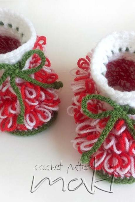 Crochet pattern - Christmas booties - Little Santa helper - Crochet baby booties pattern. Full of large pictures.