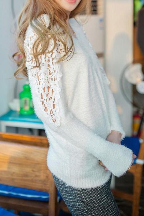 Elegant White Hollow Out Bat Sleeve Lace knit &Cardigan