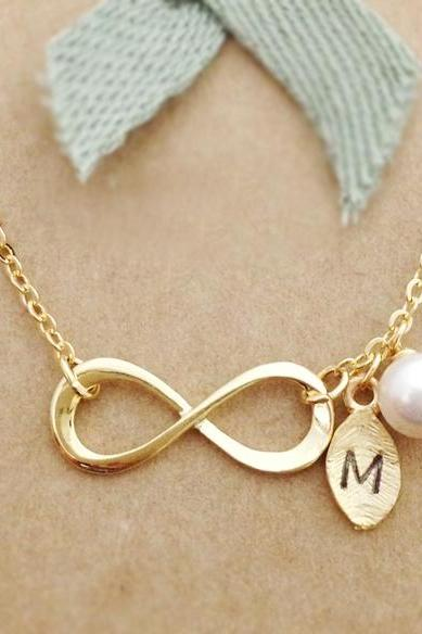 Infinity Necklace with Leaf Initial Charm, Personalized initial necklace, best friend necklace, initial jewelry, Swarovski Pearl