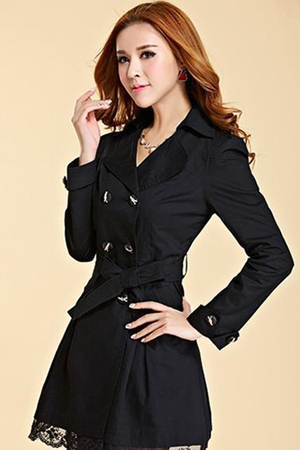 New Lace Decoration Double Breasted Trench Coat - Black