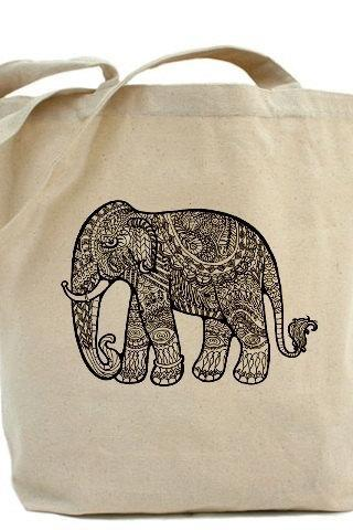 Tote bag, Shopping bag, Team madcup, Decoupage tote bag, Recycled Cotton Everyday Tote, Eco bag ,Eco friendly bag - Elephant Art