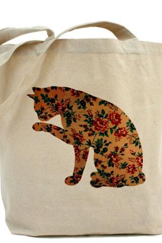 Tote bag, Shopping bag, Team madcup, Decoupage tote bag, Recycled Cotton Everyday Tote, Eco bag ,Eco friendly bag - Floral Cat
