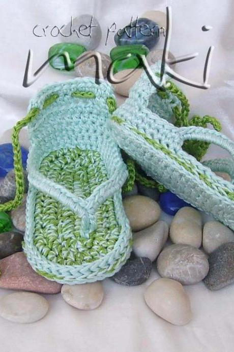 Crochet baby flip-flop crochet pattern-No sewing-Permission to sell finished items. Great and cool gift. Pattern No. 102