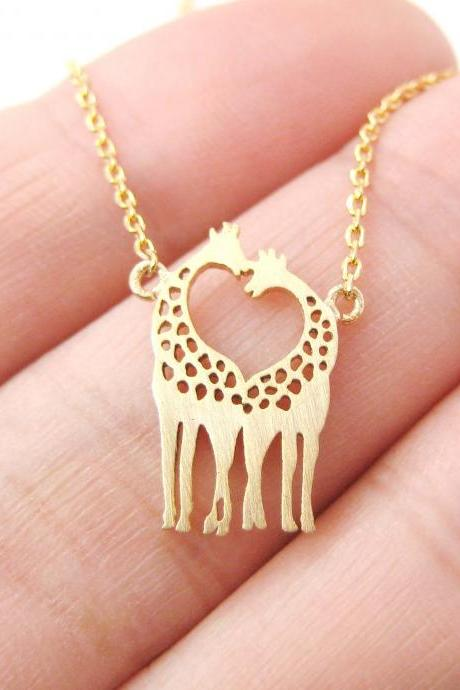 Giraffe Kissing Silhouette Shaped Charm Bracelet in Gold