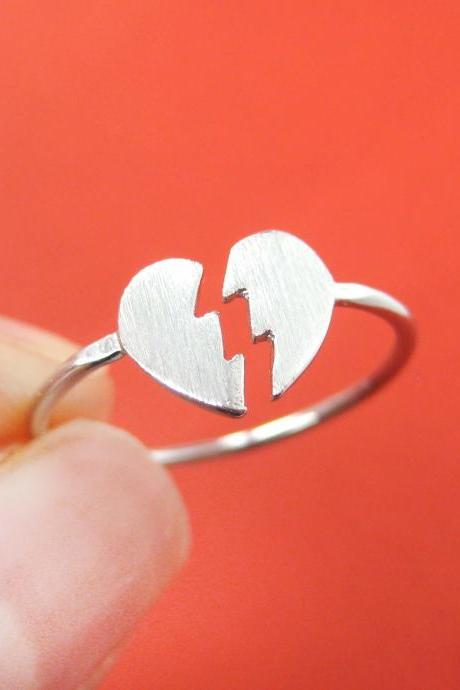 Broken Heart Shaped Jigsaw Puzzle Adjustable Ring in Silver