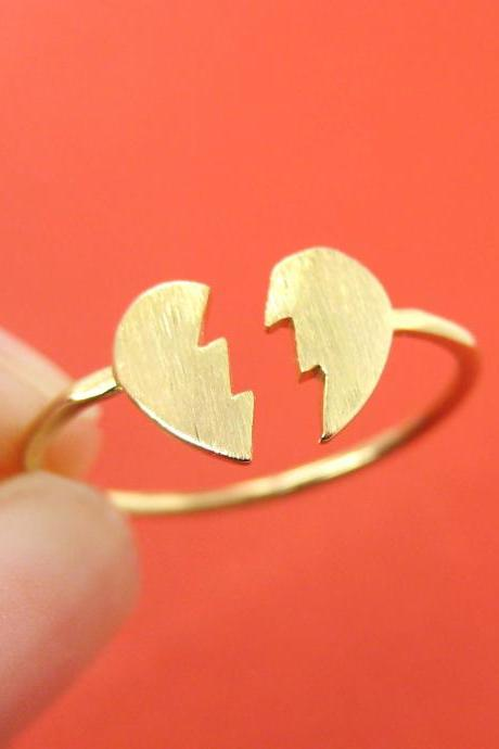 Unbreak My Broken Heart Shaped Jigsaw Puzzle Adjustable Ring in Gold