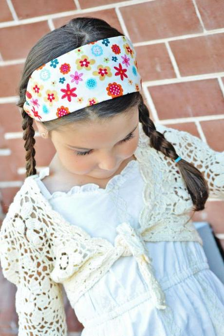 Girls Size Wide Stretch Headband- Fun Multi Flowers