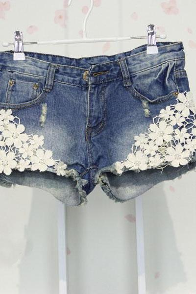 Unique Blue Denim Shorts Flower Lace